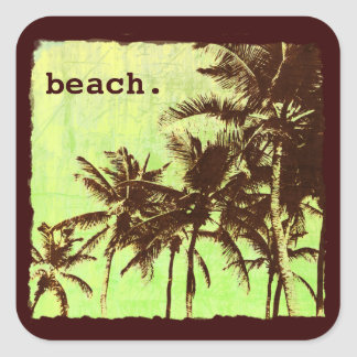 beach - tropic palms square sticker