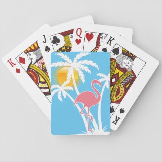 Beach Tropical Flamingo Palm Trees Playing Cards
