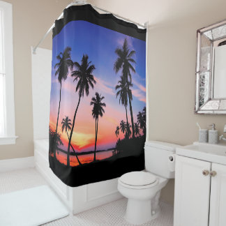 Beach Tropical Palm Sunset Shower Curtain