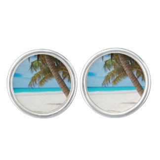 Beach tropical palm tree ocean paradise photo cufflinks