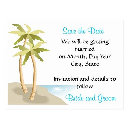 Beach/Tropical Wedding Save the Date Postcard