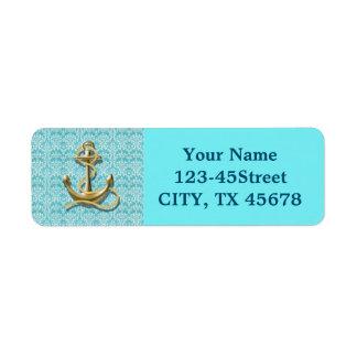 beach turquoise damask sailor nautical anchor return address label