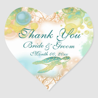 "Beach turtle ""thank you"" wedding birthday heart sticker"