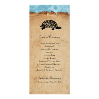 Beach Turtle Whimsical Wedding Program Personalized Rack Card