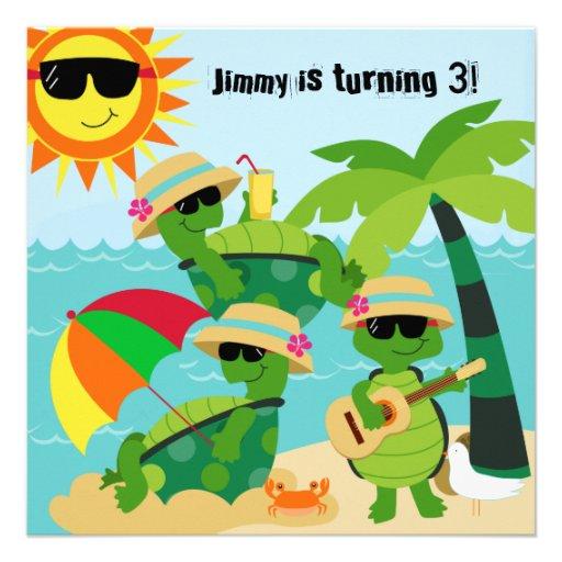 Beach Turtles Birthday Invitation