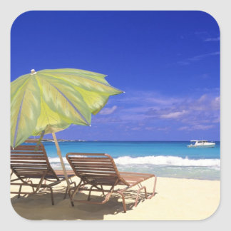 Beach Umbrella, Abaco, Bahamas Square Sticker