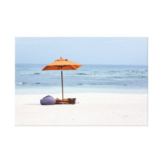 Beach Umbrella and Ocean View Stretched Canvas Prints
