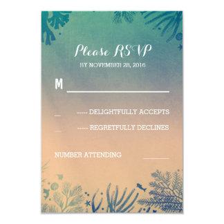beach underwater teal and blue wedding RSVP 9 Cm X 13 Cm Invitation Card