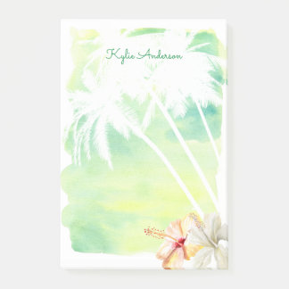 Beach Vibes Palm Trees Watercolor | Personalized Post-it Notes