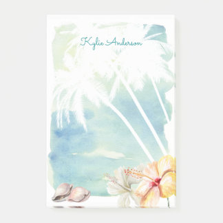 Beach Vibes Tropical Watercolor | Personalized Post-it Notes