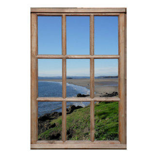 Beach View Illusion from a Fake Wood Window Poster
