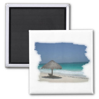 beach view square magnet
