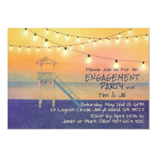 Beach View Watercolor String Lights Card