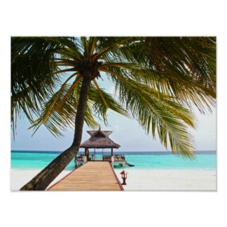 Beach Walk, Cabana, Palm Tree, Maldives Poster