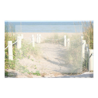 Beach walk dune roped off Florida Beach Color Stationery Paper