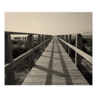 Beach Walk in Sepia Poster