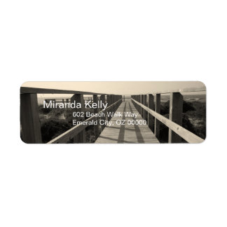 Beach Walk in Sepia Return Address Label