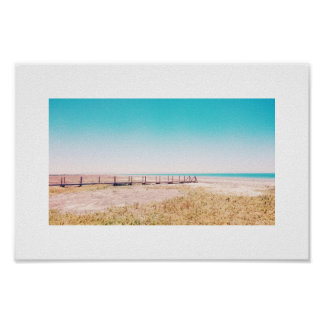 Beach Walkway Pastel Blue Pink Landscape Poster