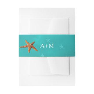 Beach water aqua blue monogram starfish wedding invitation belly band