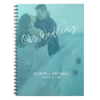 Beach water blue turquoise starfish wedding photo notebooks