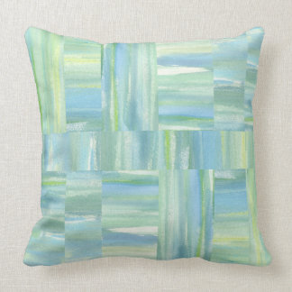 Beach watercolor sea green blue ivory abstract throw pillow