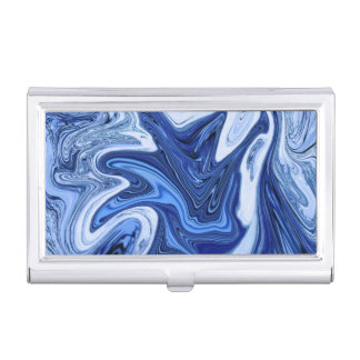 Beach watercolor swirls aqua blue white marble business card holder