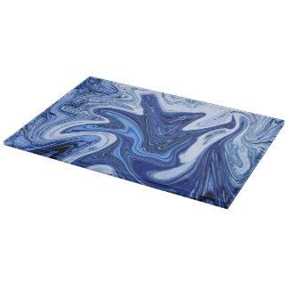 Beach watercolor swirls aqua blue white marble cutting board