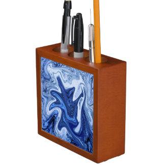 Beach watercolor swirls aqua blue white marble desk organiser