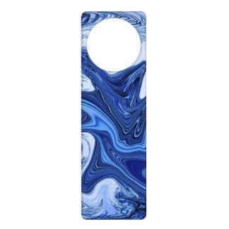 Beach watercolor swirls aqua blue white marble door hanger