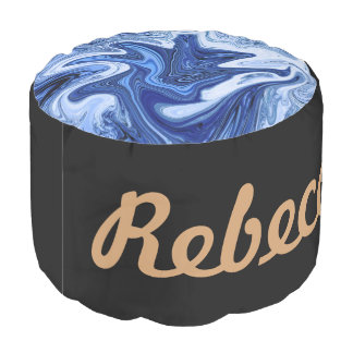 Beach watercolor swirls aqua blue white marble pouf