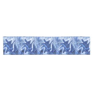 Beach watercolor swirls aqua blue white marble short table runner