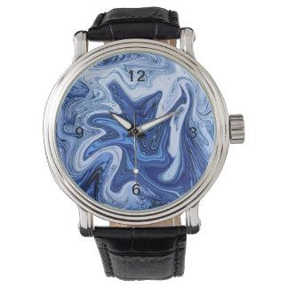 Beach watercolor swirls aqua blue white marble wristwatch