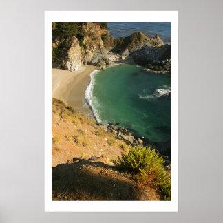 Beach Waterfall at Julia Pfieffer Poster