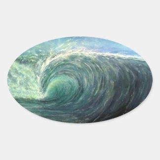 beach wave,green room,rip curl oval sticker
