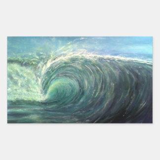 beach wave,green room,rip curl rectangular sticker