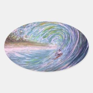 beach wave purple surfer oval sticker