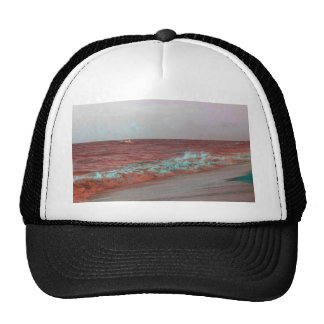 beach waves red teal florida seashore background hats