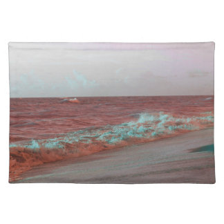 beach waves red teal florida seashore background placemats