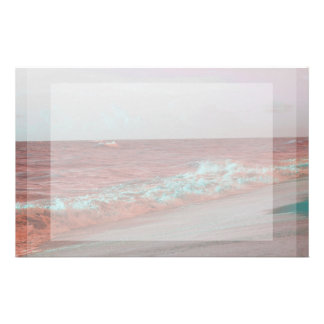 beach waves red teal florida seashore background personalized stationery