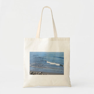 "Beach waves rocky shore with poem ""Gifts of a Day"" Budget Tote Bag"