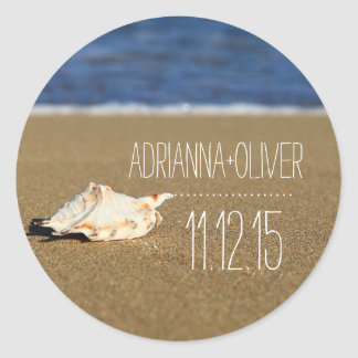 Beach Waves Seashell | Sand | Wedding Favor Classic Round Sticker
