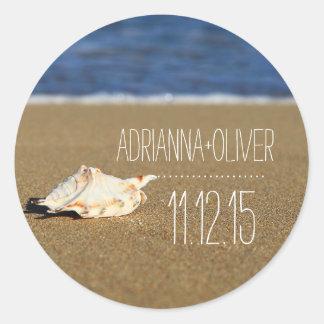 Beach Waves Seashell | Sand | Wedding Favor Round Sticker
