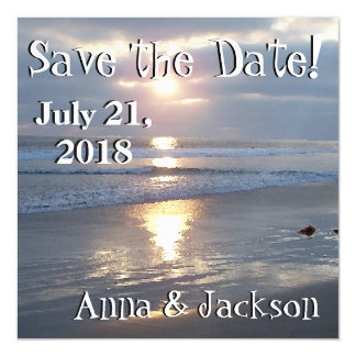 Beach Waves Sunset Save Date Magnet Card Magnetic Invitations