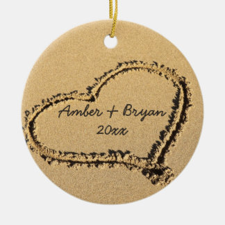 Beach Wedding | 1st Christmas Together Add Names Ceramic Ornament