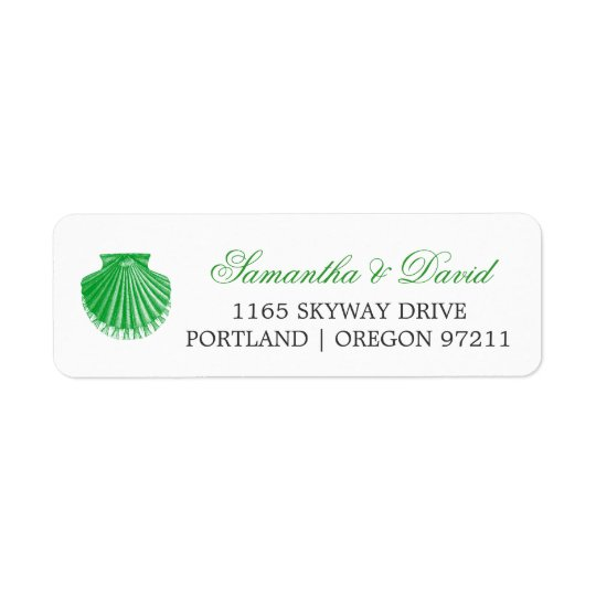 Beach Wedding Address Scallop Shell Green Return Address Label