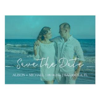 Beach wedding aqua blue save date script photo postcard