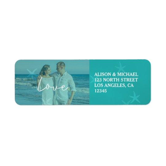 Beach wedding aqua love script photo underwater return address label