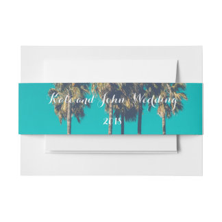 Beach Wedding Belly Band Palms Invitation Belly Band