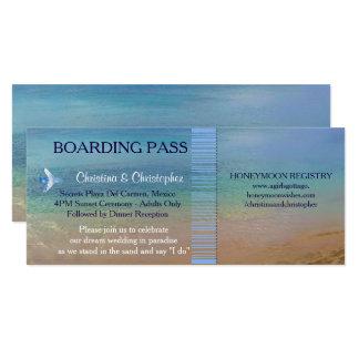 Beach Wedding   Boarding Pass Ticket-Destination Card