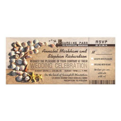 beach wedding boarding pass tickets - invitations